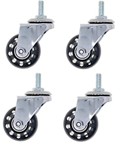 "DIM Set of 4 Swivel Threaded Post, Non-Marring, Rollerblade Style Casters, 2"" Caster, 5/16"" Bolt Thread, 3/4"" Stem Length"