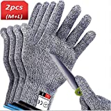 2 Pairs Cut Resistant Gloves Work Gloves Level 5 Working Safety Glove Man Cut Proof Gloves for Kitchen Butcher Outdoor Work Protective Hands(M Size & L Size)