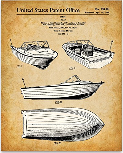1964 Lone Star Boat Co 16' Bermuda Boat Art Print - 11x14 Unframed Patent Print - Great Gift for Motorboat Owners or Home Decor for Lake Houses and Beach Houses