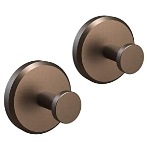 HOME SO Bathroom Hook with Suction Cup Holder - Removable Shower & Kitchen Bronze Hooks Hanger for Towel, Bath Robe, Coat, Loofah (2-Pack)