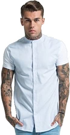 SikSilk - Camisa casual - para hombre azul azul claro Medium ...