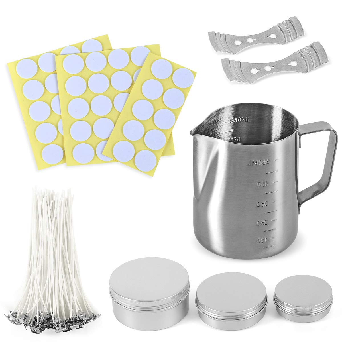 Candle Making Kit - Includes 1pc Candle Make Pouring Pot, 3pcs Candle Tins, 50pcs Candle Wicks, 50pcs Wicks Sticker, 2pcs 3-Hole Wicks Holder for Candles Craft DIY