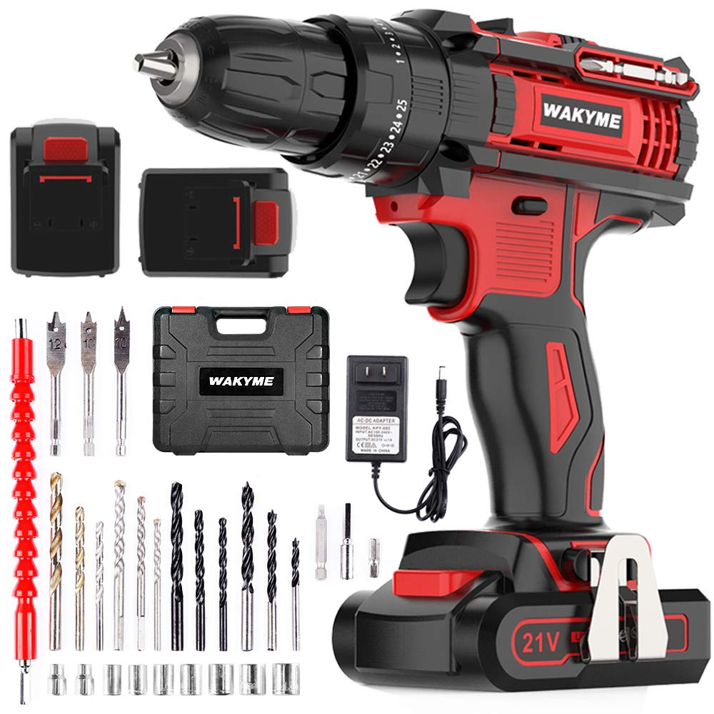 "WAKYME Cordless Drill Driver Kit with 2 Batteries, 21V Impact Drill 350 In-lb Torque 25+3 Clutch, 3/8"" Keyless Chuck, Variable Speed & Built-in LED Power Drill for Drilling Wall, Brick, Wood, Metal"