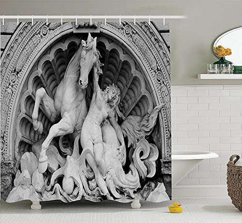 [Sculptures Decor Collection A Struggling Nymph with Octopus Seashell Horse in a Lunette Sculpture Art in Bologna Polyester Fabric Bathroom Shower Curtain Set with Hooks] (Wood Nymph Costume)