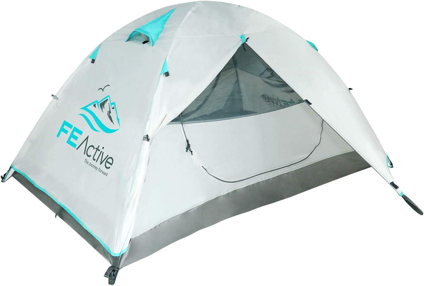 FE Active Tienda de Campaña 2 Personas – Tienda de Camping 4 Estaciones de Alta Cualidad para 1 o 2 Personas con Cubierta Impermeable, Postes de Aluminio. Todas las Temporadas I Diseñado