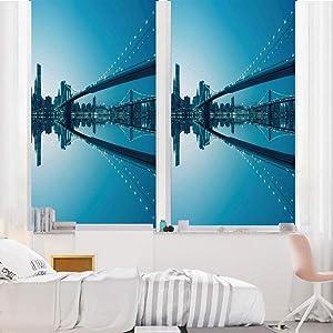 "Landscape 3D No Glue Static Decorative Privacy Window Films, NYC Landscape Manhattan Skyline Panorama Monochrome Picture Modern Home Artwork,24""x36"",for Home & Office Decor,Blue White"