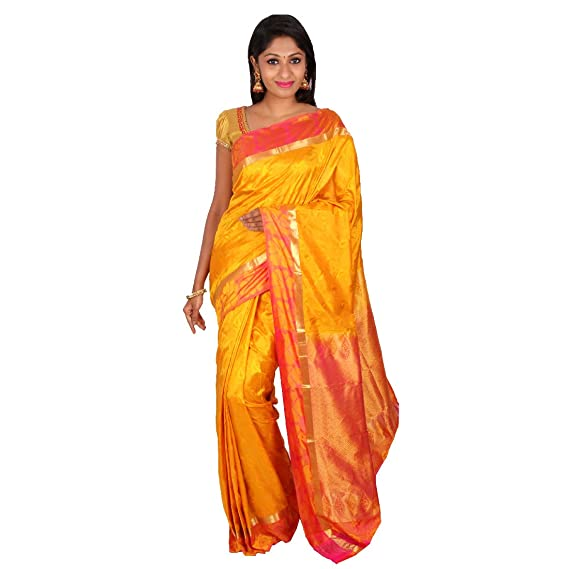 684e64a10bf06f PSSB Kanchipuram Silk Sarees Emboss Design Pure Silk Jari Rich Pallu Mustard  with Red Border  Amazon.in  Clothing   Accessories
