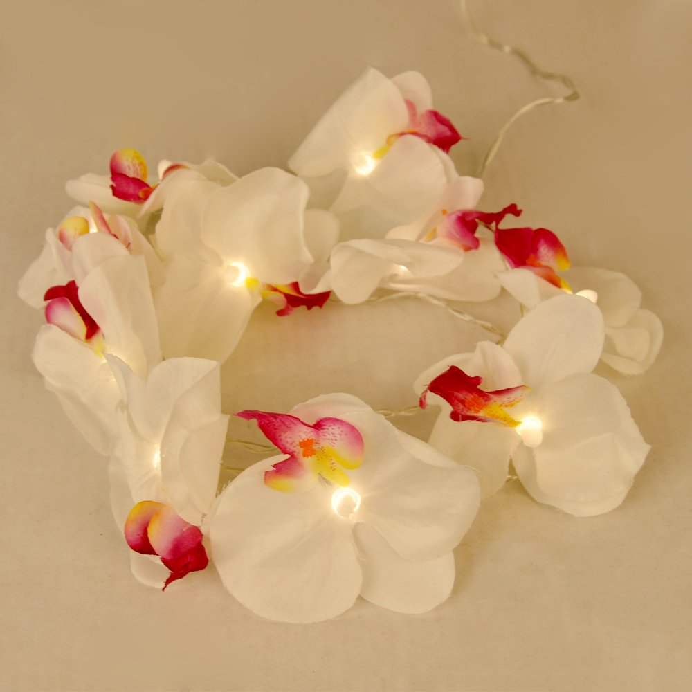 Flower string lights - Modern Decorative Battery Operated Floral Orchid Warm White Led String Lights Amazon Co Uk Lighting