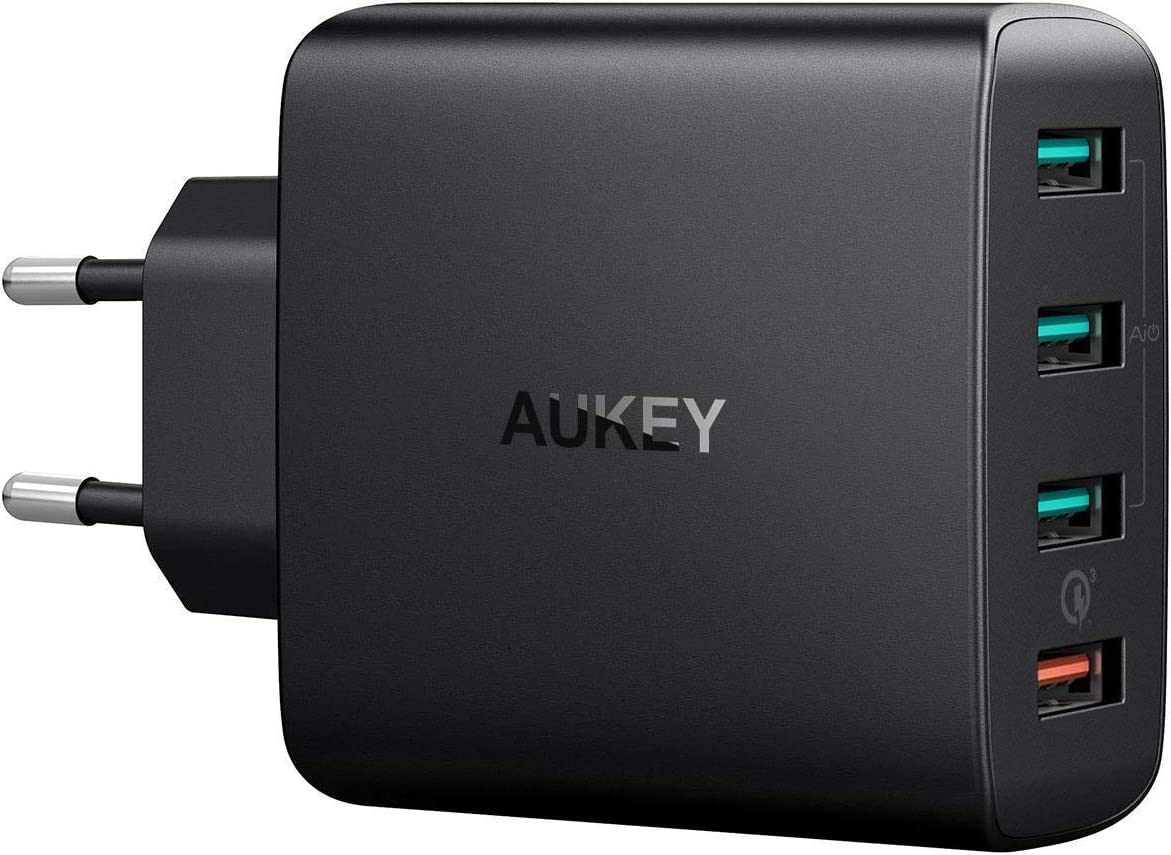 AUKEY Quick Charge 3.0 Cargador Móvil 4 Puertos 42W Cargador de Pared para Samsung Galaxy S9 / S8+ / Note 8, LG, Nexus, HTC, iPhone XS / XS Max / XR y más