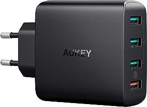 AUKEY Quick Charge 3.0 Cargador Móvil 4 Puertos 42W Cargador de Pared para Samsung Galaxy S9 / S8+ / Note 8, LG, Nexus, HTC, iPhone XS / XS Max / XR y más
