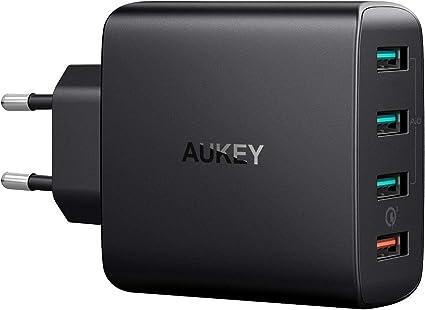 AUKEY Quick Charge 3.0 Cargador Móvil 4 Puertos 42W Cargador de Pared para Samsung Galaxy S9 / S8+ / Note 8, LG, Nexus, HTC, iPhone XS / XS Max / XR y más: Amazon.es: Electrónica