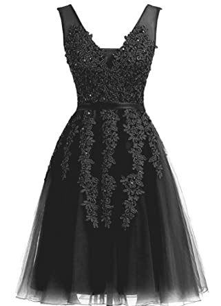YIRENWANSHA Lace Appliqued Prom Dress Short 2018 Homecoming Dresses for Girls Graduation Cocktail Gown V Neck