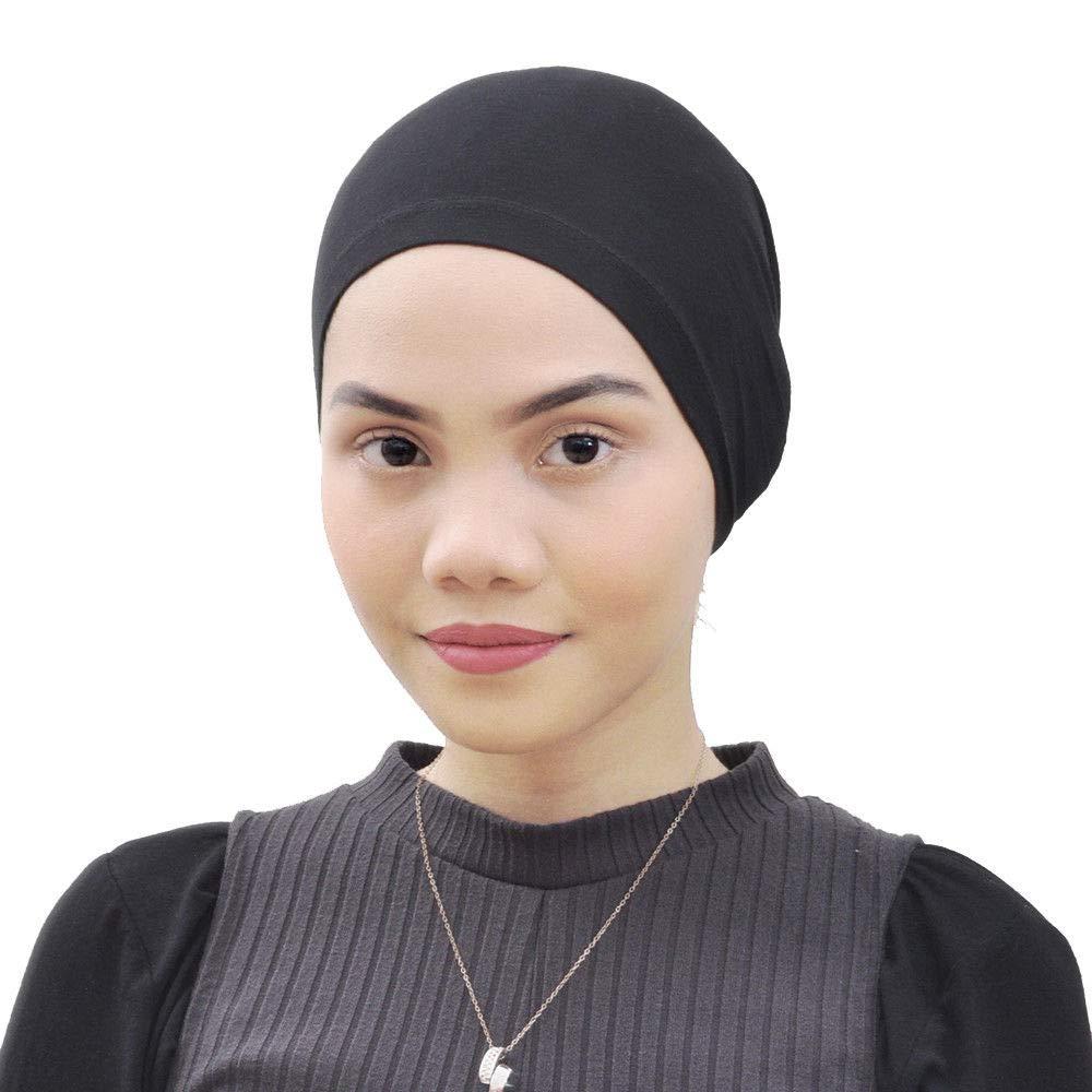 Silk Story Salina Cotton Turban Hair Cover Under Scarf Shawl Hijab Cap Bonnet Cap Instant (White) (Black) at Amazon Womens Clothing store: