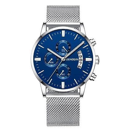 XBKPLO Quartz Watches Mens Analog Wrist Luxury Watch Multifunction Calendar Window Temperament Steel Mesh