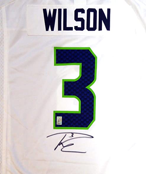 277bc8a49de Image Unavailable. Image not available for. Color  Seattle Seahawks Russell  Wilson Autographed White Nike Jersey ...