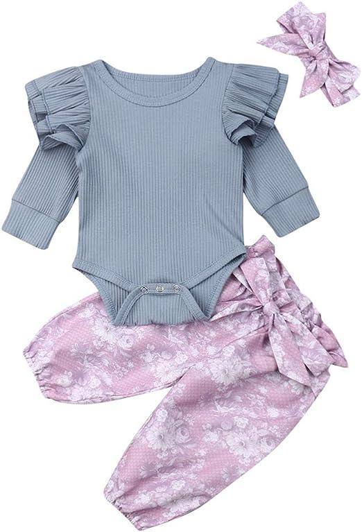 Newborn Baby Girls Outfits Infant Ruffle Romper Bodysuit Top Pants Trouser Suit