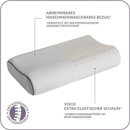ABAKUHAUS Almohada para Dormir Boca Abajo Gris y Blanco Relleno de Visco Espuma con Memoria Respirable y Suave Funda de Poli/éster para Dolor de Cuello Hombros y Espalda 38 X 58 X 13 cm