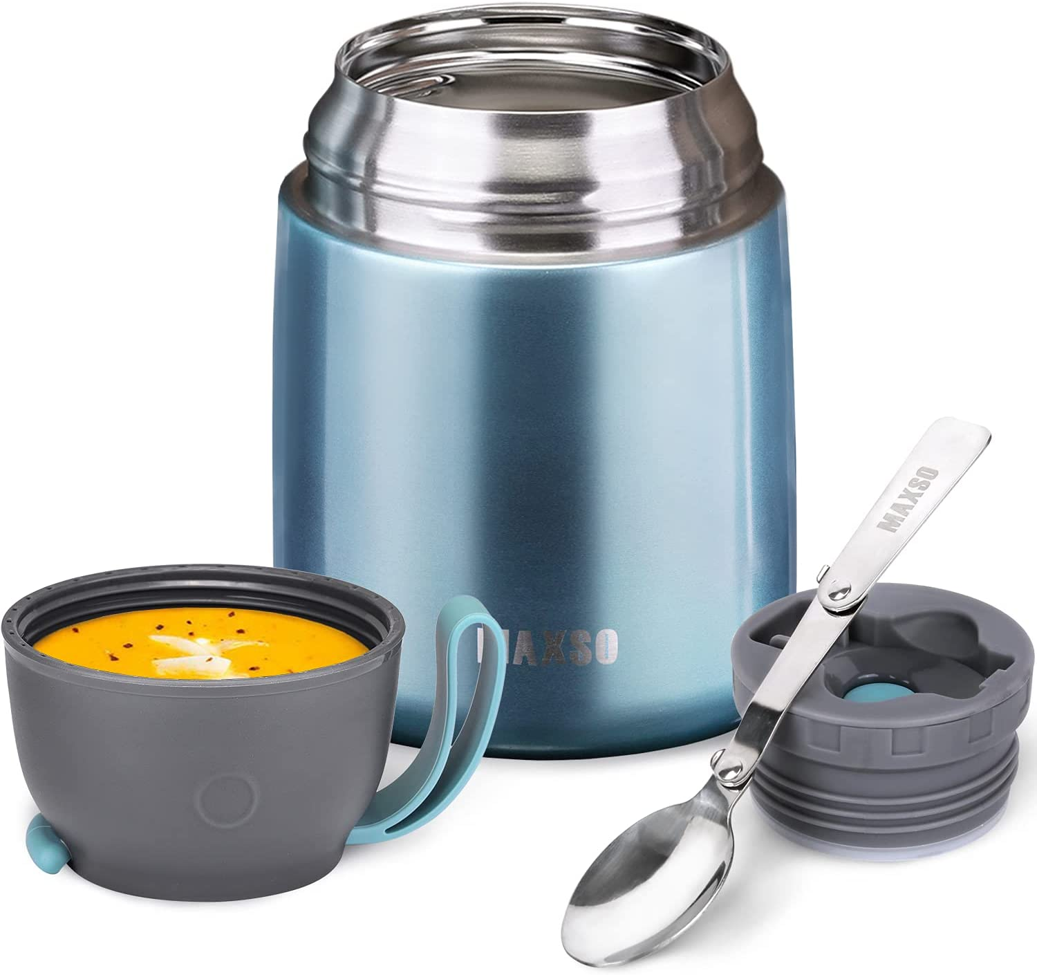 Thermos Food Jar for Hot & Cold Food for Kids Adult, 17 oz Set Soup Thermos Hot Food Containers for Lunch, Insulated Food Jar with Spoon, Metallic Light Blue (1pack)