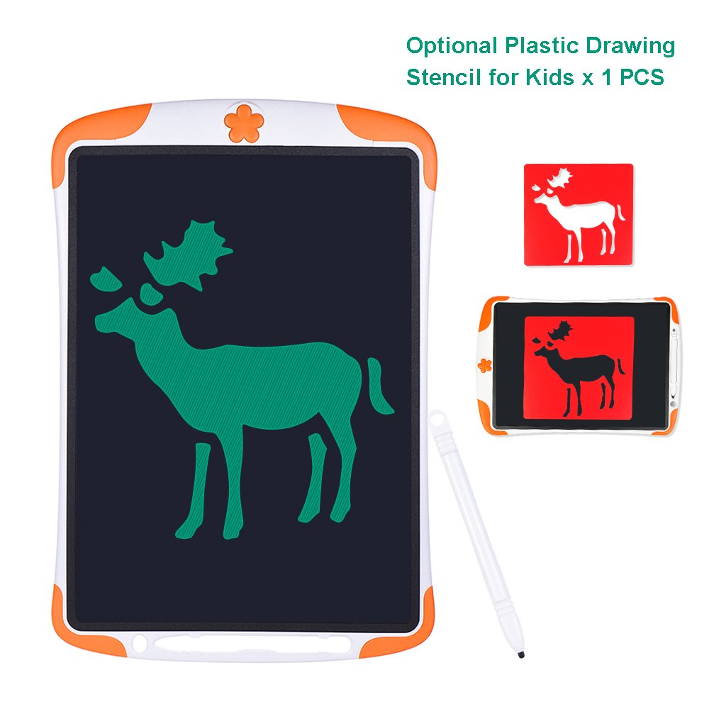 Drawing Board Notepad Electronic Drawing Tablet Children Drawing Tool Children Gifts LCD Writing Tablet 12 Inches with Random Stencil(Orange)