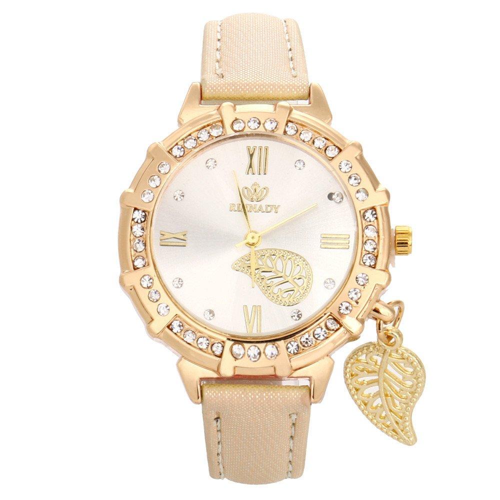 Wrist Watch for Girls, Women Quartz Wrist Leaves Tower Rhinestone Pendant Wrist Watch,Smartwatches,Gold,Women Watch