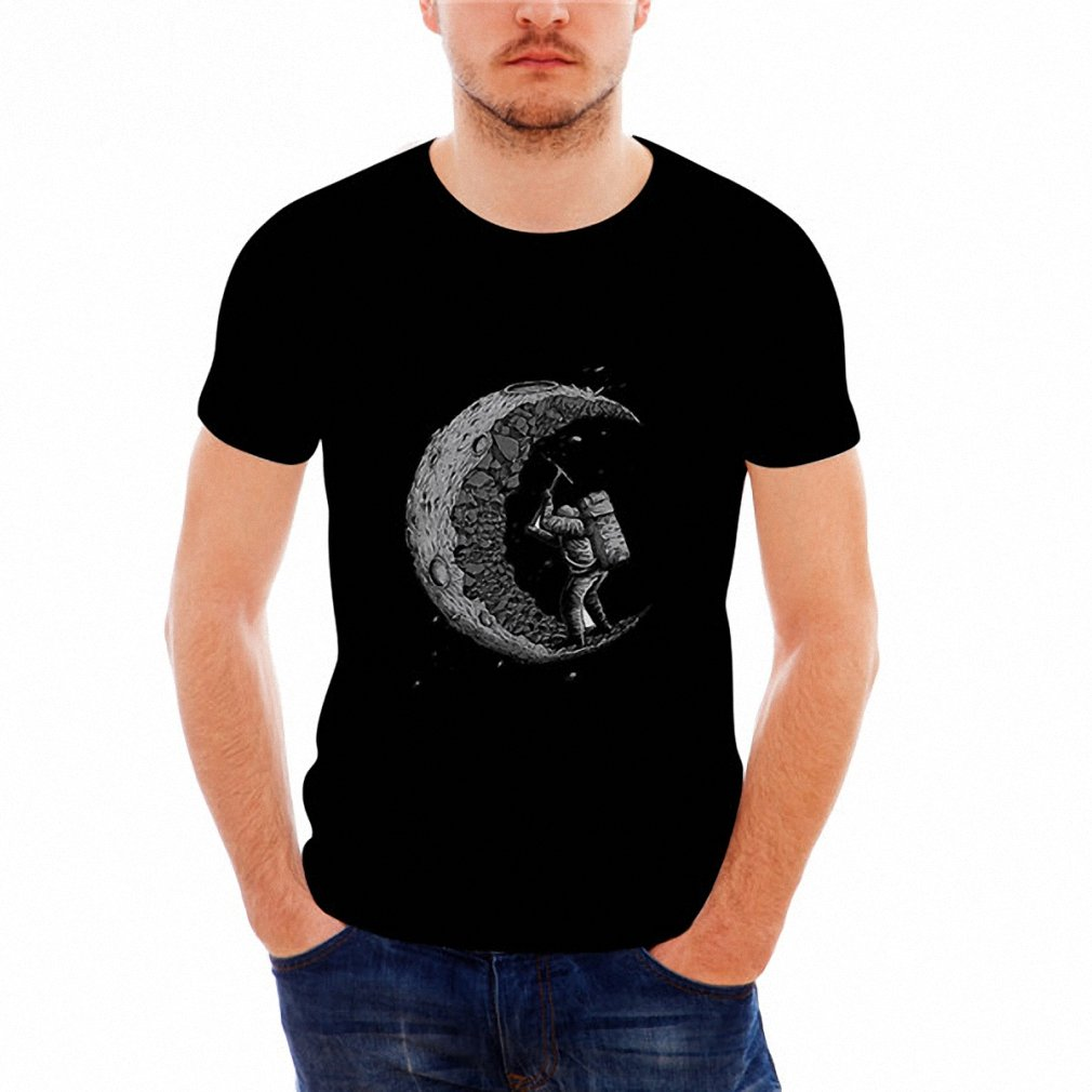 Hiuwa Unisex 3D T-Shirt Digging The Moon Print O-Neck Tops Short Sleeve