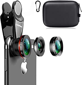 KINGMAS 3 in 1 Universal 198° Fish Eye Lens + 0.63X Wide-Angle Lens + 15X Macro Clip Camera Lens Kit for iPad iPhone Samsung Android and Most Smartphones (Black 3-in-1 (Upgrade))