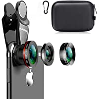 KINGMAS 3 in 1 Universal 198° Fish Eye Lens + 0.63X Wide-Angle Lens + 15X Macro Clip Camera Lens Kit for iPad iPhone…
