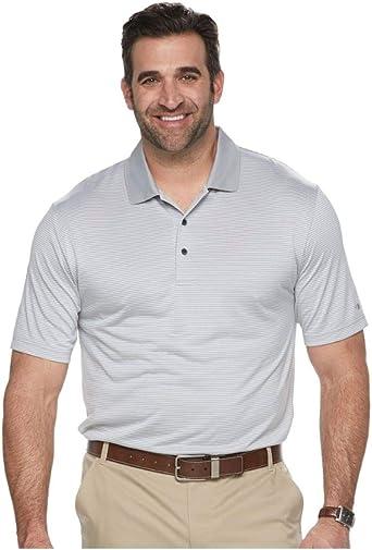 Grand Slam Mens Big & Tall Sleet Gray Stripe Performance Golf Polo Shirt