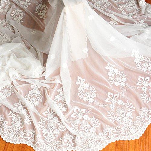 IRIZ 花柄刺繍メッシュレースファブリックドレスドレス衣服装飾ファブリック ホワイト