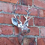 Aluminium Wall Mountable Silver Stag Head for Home or Garden