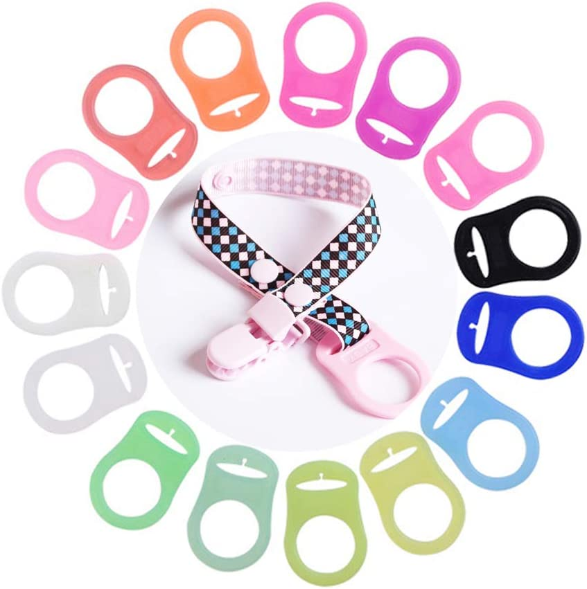 Baby Pacifier Ribbon Clip Multi Colors Silicone Baby Dummy Pacifier Holder Clip Adapter Silicone Adapter Ring