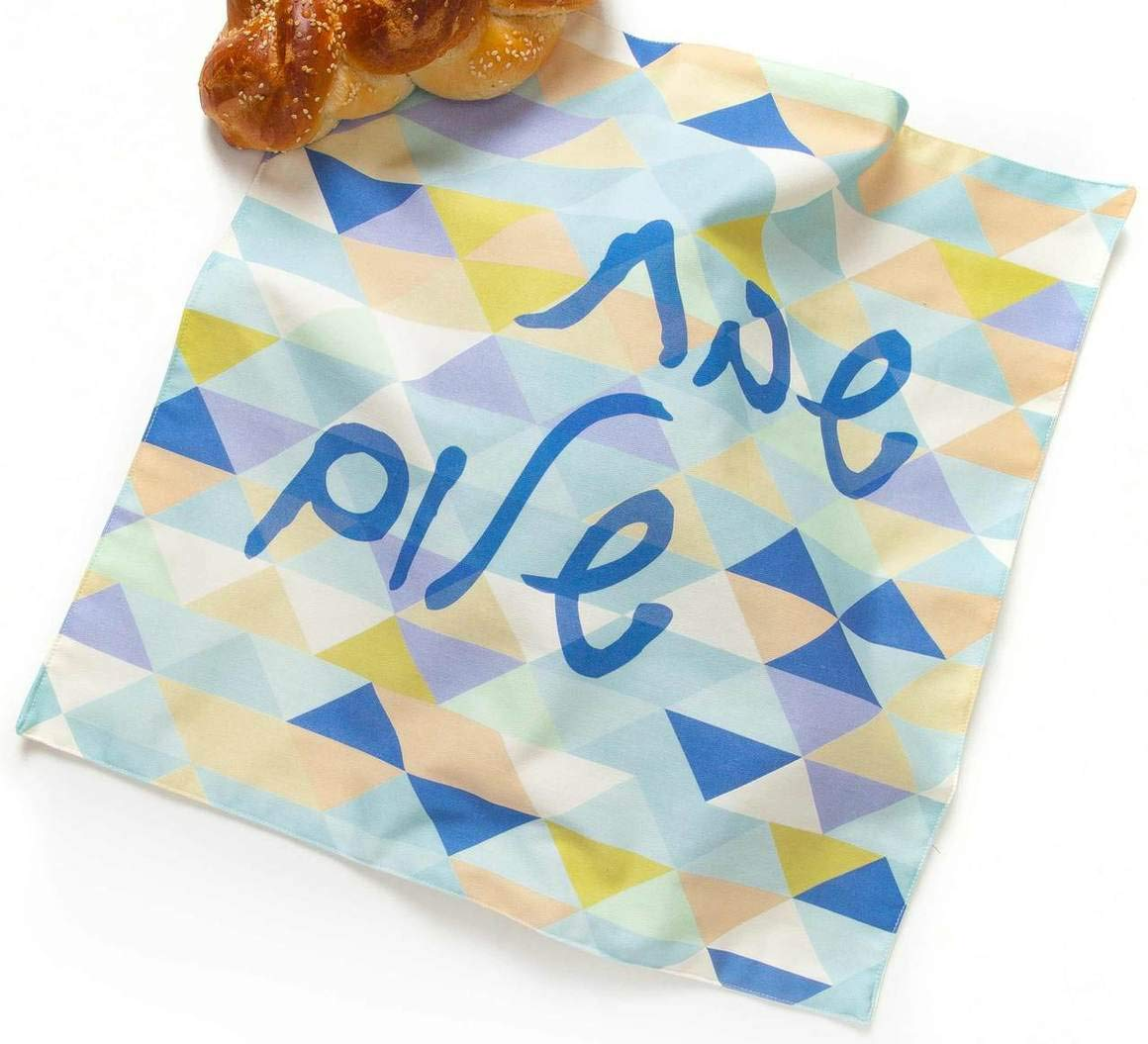 Barbara Shaw Gifts Blue Triangle Tile Challah Cover, Israeli Gifts Jewish Gifts for The Home Hostess Gifts Hand Made and Sewn in Jerusalem