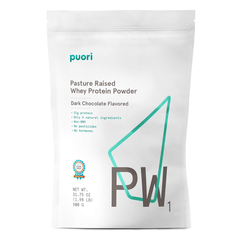 Puori – PW1 Pastured Raised Whey Protein Powder, Non-GMO, 21g Protein, Dark Chocolate, 1.98lbs