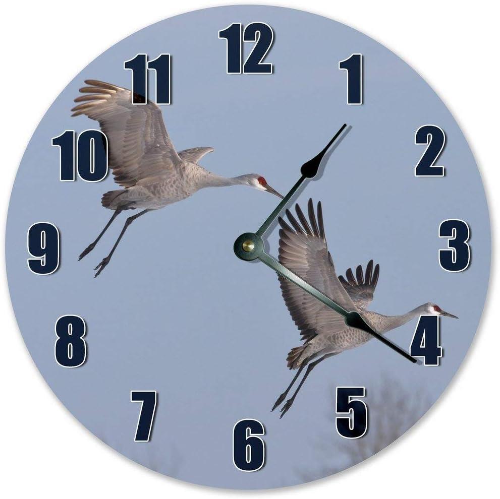 """PotteLove 12"""" Vintage Sandhill Crane Birds Clock Wooden Decorative Round Wall Clock"""