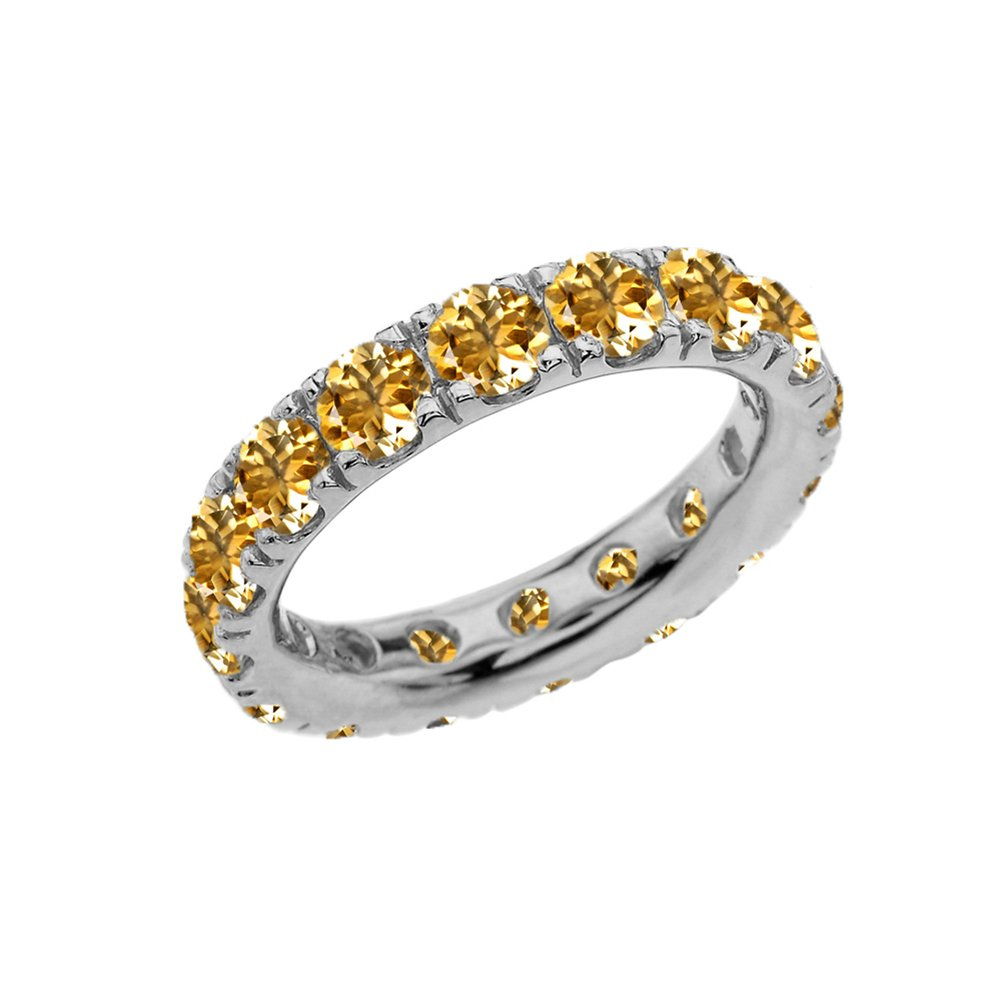 Sterling Silver 4mm November Birthstone Cubic Zirconia Comfort Fit Eternity Band (Size 12)
