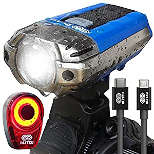BLITZU Gator 390 USB Rechargeable LED Bike Light Set, Bicycle Headlight Front & FREE Rear Back Tail Light. Waterproof, Easy To Install for Kids Men Women Road Cycling Safety Commuter Flashlight BLUE