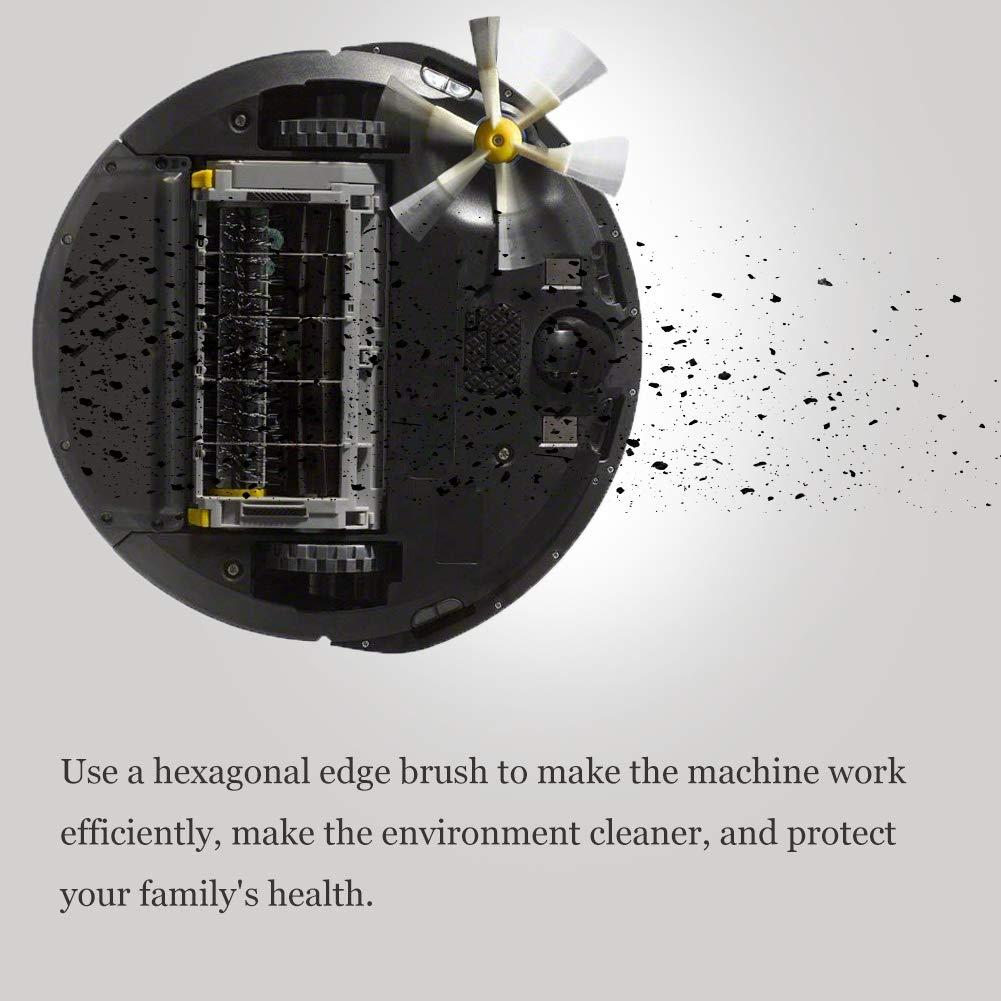 Side Brush 6 Armed para iRobot Roomba serie 800 900, ABC life Accessories Piezas de repuesto 4 cepillos laterales y 5 tornillos para aspiradora Robot (9 in 1)