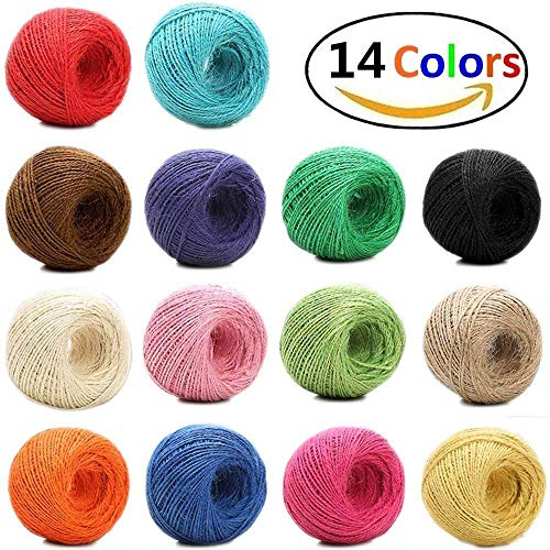 1148 Feet (383 Yards) 2mm 3 ply Colourful Natural Jute Twine - 14 Roll Jute String, Twine String for Artworks, DIY Crafts, Gift Wrapping Twine, Picture Display and Embellishments by HULISEN