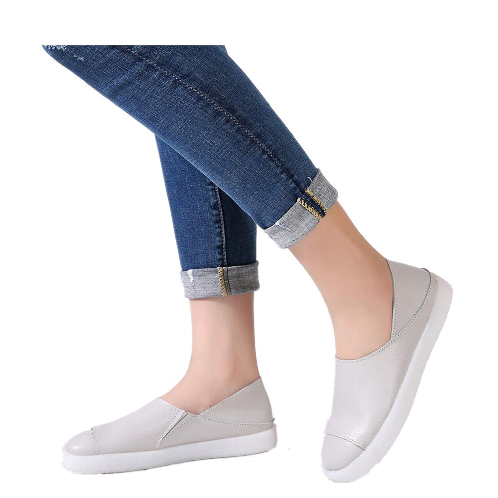 Casual Leather Flats Slip On Shoes for Women Leather Loafer Comfort Walking Casual Sneakers (US:6.5-7.0, White)