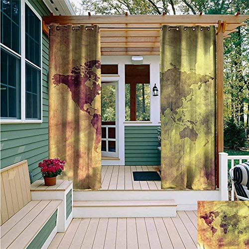 (Beihai1Sun Custom Outdoor Curtain,Grunge Vintage Old World Map Design,for Porch&Beach&Patio,W72x84L)