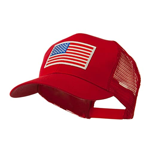 f35af783e841a 6 Panel Mesh American Flag White Patch Cap - Red OSFM at Amazon ...