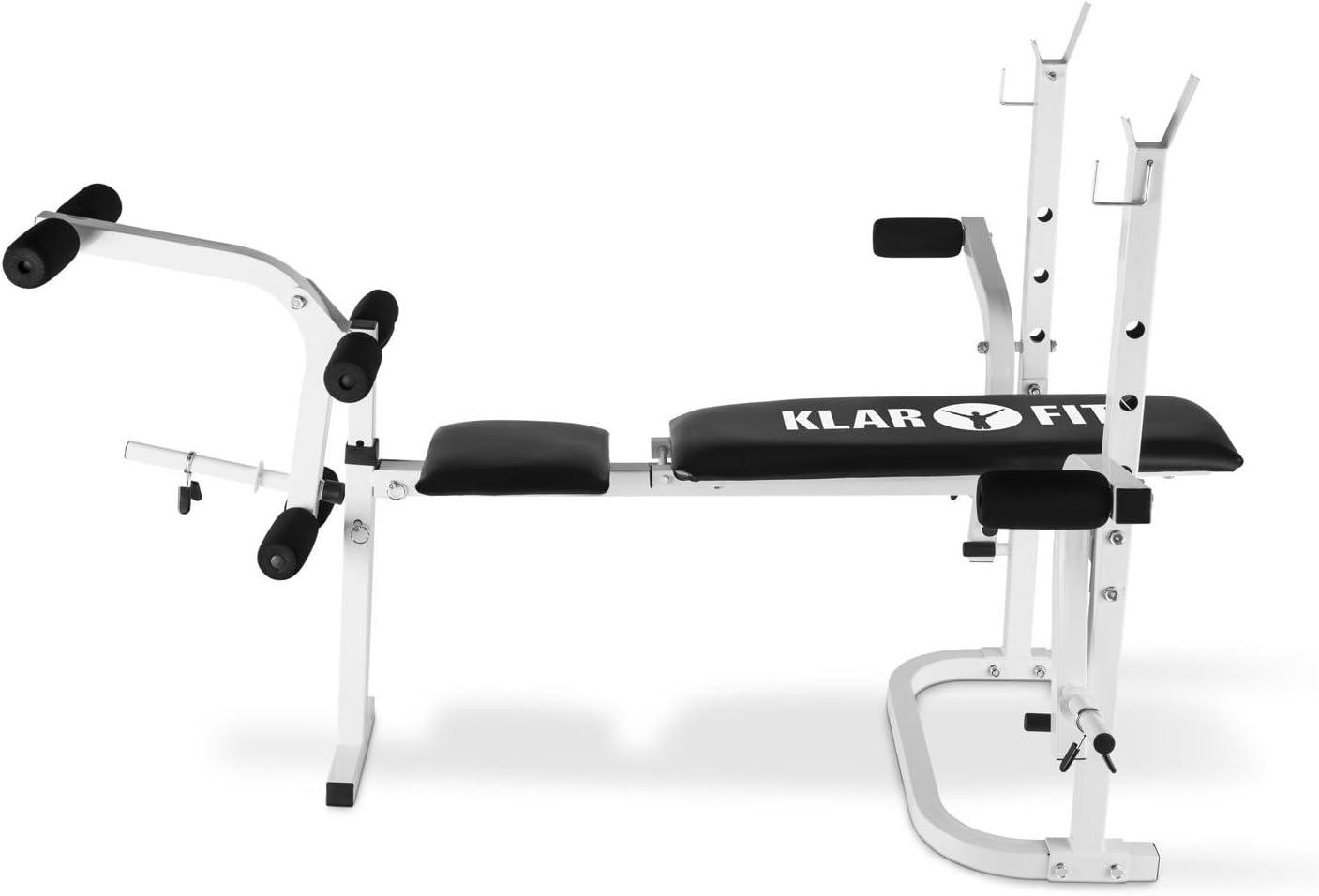 Charge max Cadre en acier Banc dhalt/érophilie Banc de musculation Support pour halt/ères Barres de flexion pour bras et jambes : 160 kg Klarfit Workout Hero Multistation HB3BC Blanc