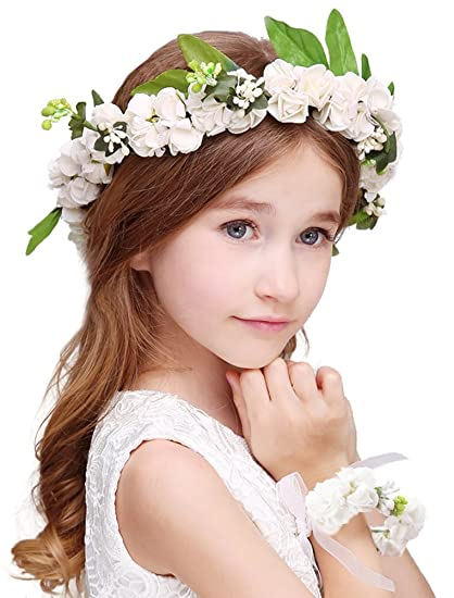 84daf78aed7e4 Bienvenu Girl Flower Crown With Floral Wrist Band For Wedding  Festivals,White