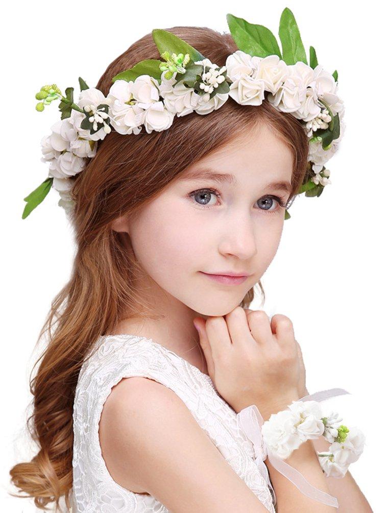Bienvenu Girl Flower Crown With Floral Wrist Band For Wedding Festivals,White