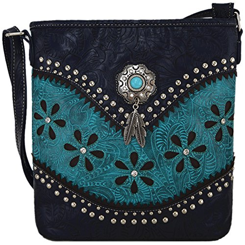 Western Style Tooled Leather Cross Body Handbags Concealed Carry Purse Women Country Single Shoulder Bag (Turquoise) ()