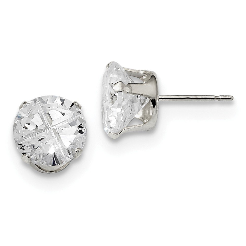 Sterling Silver 9mm Round 4 Prong CZ Stud Earrings