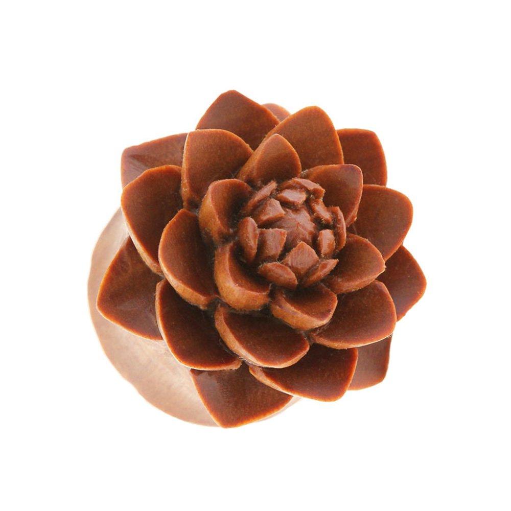 Dynamique Pair Of Handcarved Organic Saba Wood Lotus Flower Saddle Fit Plugs