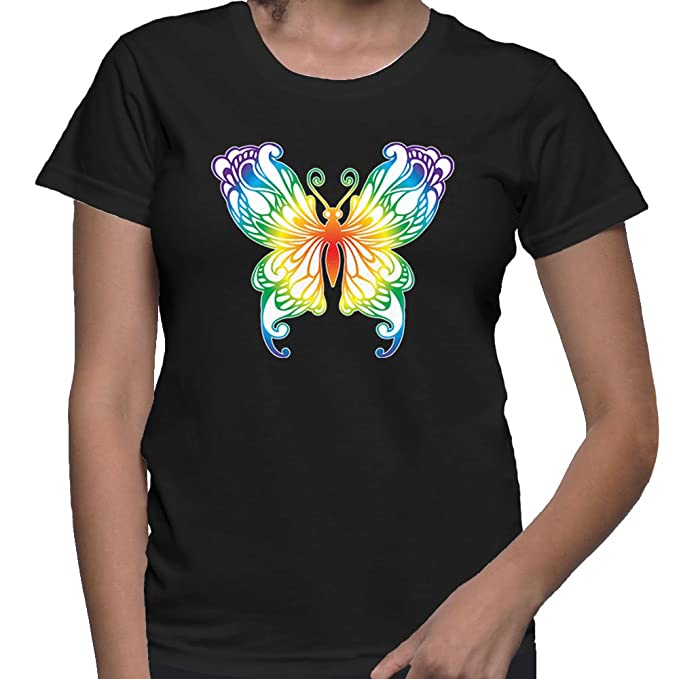 Amazon.com  HAASE UNLIMITED Women s Rainbow Butterfly T-Shirt  Clothing 9b8fbfb7d