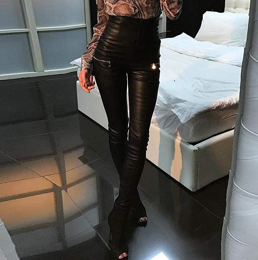 Spaulding Capri Leggings for Women Women Workout Leggings,Women Leggings Zipper Faux Leather Club Party Skinny Shiny Pants Trousers