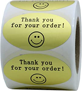 Hybsk 50mmx30mm Oval Gold Metallic Foil Thank You for Your Order Retail Mailing Stickers 500 Labels Per Roll (Gold)